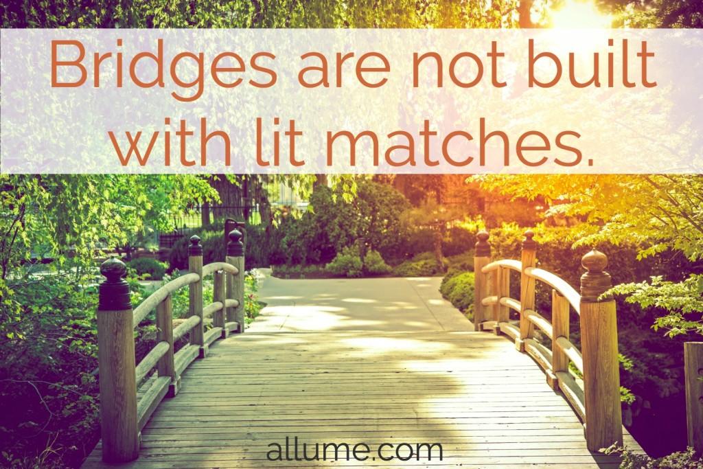 Bridges Are Not Built With Lit Matches